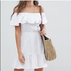 ASOS ruffled off the shoulder dress